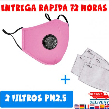 Mascarillas eco con filtro de proteccion Pm2.5 color rosa ajustable cara