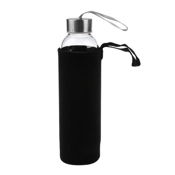 Botella de agua deportiva de cristal caliente con Infusor de filtro de té, bolsa protectora de 550ml
