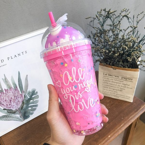 Tazas creativas de color rosa, botellas de agua, botella para beber, de vidrio, artículos de cocina, botella de agua bonita a prueba de fugas para niños al aire libre