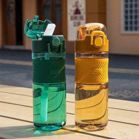 Botella de agua al aire libre de 600ML con pajita botellas deportivas respetuoso con el medio ambiente Tritan senderismo Camping bicicleta de plástico portátil gimnasio espacio tazas