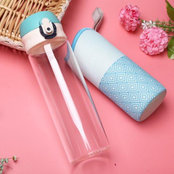 Botella de agua de cristal para mujer, de 400/500ml, para exteriores, portátil, para estudiantes y niñas, botella para beber con bolsa de aislamiento, hervidores para deporte