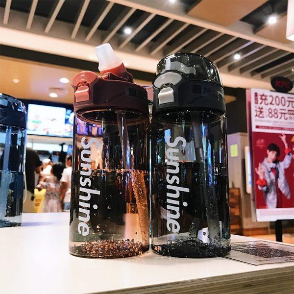 Botella de agua con pajita, botellas de agua deportivas para gimnasio, 430ml, 550ML, portátil para exteriores, a prueba de fugas, Tritan, vaso de plástico para niños, sin BPA