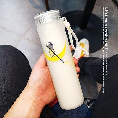 480ML Kawaii dibujos animados botella de agua de vidrio de moda lindo deporte botellas de bebida para niños chica estudiante con funda protectora