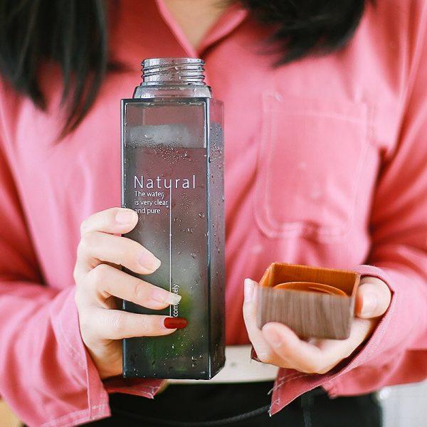 Soffe botella de agua para infusiones de fruta 450ml cuadrado transparente resistente al calor al aire libre Camping deporte botella de bebida libre de plástico BPA