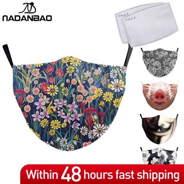 NADANBAO, máscara impresa 3D de moda para adultos, mascarilla lavable para mujeres, mascarilla reutilizable para Cosplay, máscaras para exteriores con diseño divertido