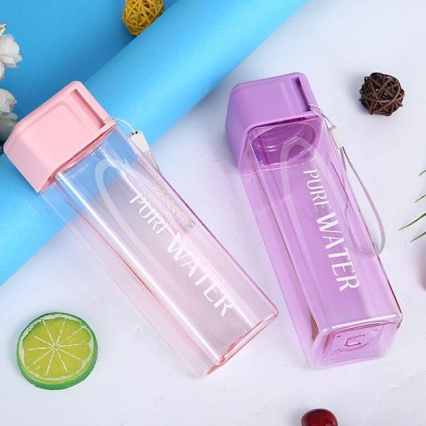 Botella de agua portátil, cuadrada, de plástico, para almacenamiento de leche, deportes, para beber, hidrotermo, taza transparente, botella de viaje para el hogar, oficina, 480ml