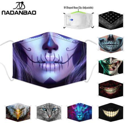NADANBAO-mascarilla de calavera para mujer, máscara con estampado facial ajustable con pinza para la nariz, mascarilla Gótica para Halloween para niños y adultos