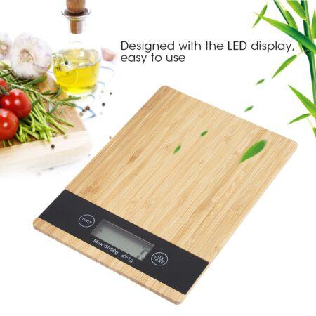 Báscula Digital multifunción para alimentos, cocina, pantalla LED de bambú, báscula eléctrica para alimentos
