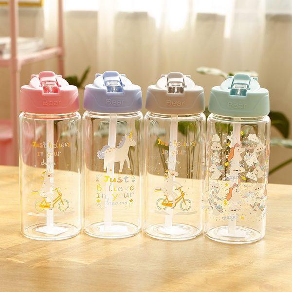 Botella de agua de vidrio unicornio para niños con paja y tapa abatible botella de bebida de viaje a prueba de fugas BPA gratis 300 ml, 400ml