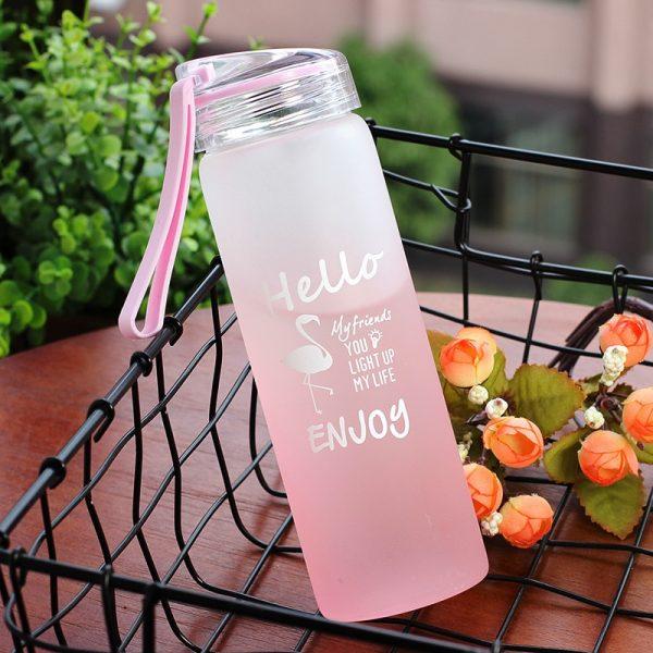 Nuevo creativo Animal Flamingo gato botella de vidrio para botella de agua de alta calidad al aire libre portátil bosque de vidrio botellas de beber con cuerda