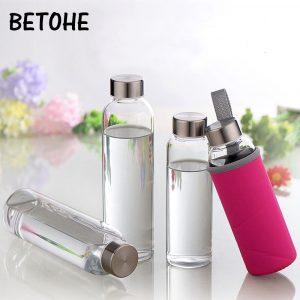 Botella de agua de vidrio con bolsa protectora utensilios para bebida para viaje botella portátil botella transparente para agua té botella de vidrio deporte