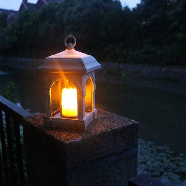 Luz Solar de jardín LED farol, luz Solar con vela para patio, luz Solar de jardín exterior, lámpara Solar para colgar, luces decorativas, 1 Uds