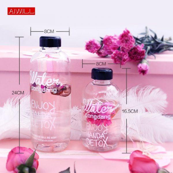 AIWILL, 1000ml, 600ml, botellas de agua de vidrio para niñas estudiantes, botellas deportivas, botella de zumo creativa, hervidor con bolsa