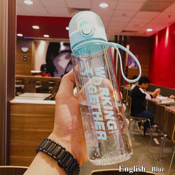 Botella de agua deportes botella para gimnasio escuela al aire libre viaje botella de infusión de té portátil a prueba de fugas botellas de bebida Studen vasos de plástico