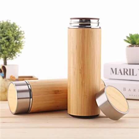 Vaso de bambú de acero inoxidable de 350ml y 450ml, termo Natural, botellas aisladas, taza de bambú para té