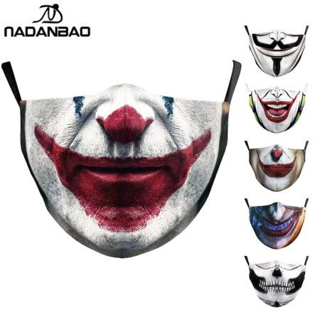 NADANBAO-mascarilla con estampado de cara bromista divertido, mascarilla lavable para niños, mascarilla de tejido para adultos y mujeres, mascarilla de exterior reutilizable de moda