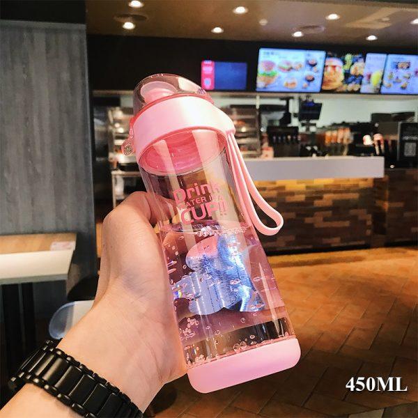 Tritan botella de agua de plástico 350ml 450ml BPA gratis portátil mi botella de bebida chica estudiante fuga-a prueba de agua de botella de deporte al aire libre