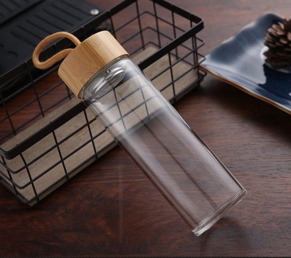 Botellas de agua de cristal de alta calidad de 400ml y 500ml, tapa de bambú con cuerda, botella de bebida embotellada para bebidas, botella de té portátil para exteriores