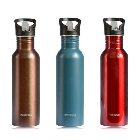 De acero inoxidable de 750ML botellas de agua de Metal MYBLUE diseño de marca única pared viaje Gimnasio Deportivo hervidor de agua