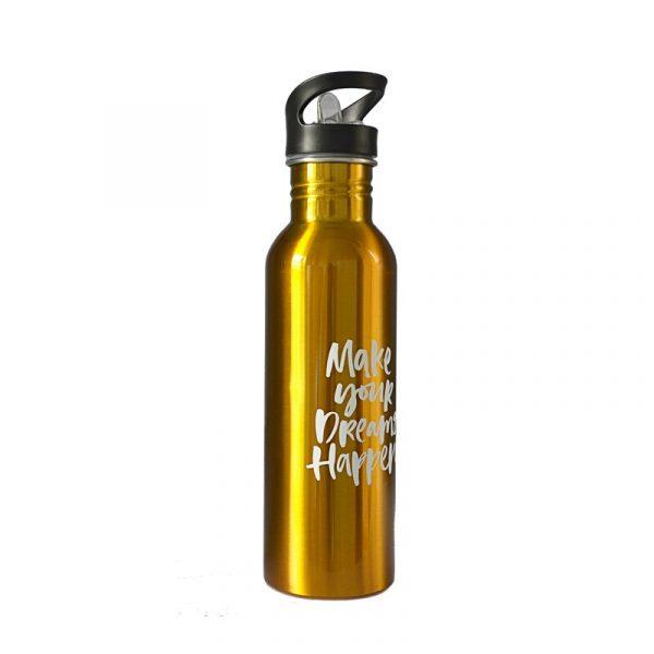De una sola pared portátil deportes de agua botellas con paja de Metal de acero inoxidable al aire libre paja tipo adultos gimnasio de alta calidad botellas de