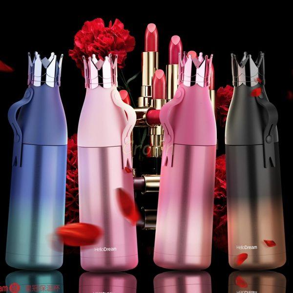 Termo Crown Queen de acero inoxidable, botella de agua portátil, taza de café de viaje, creativo termo aislado de princesa, 240ml/350ml