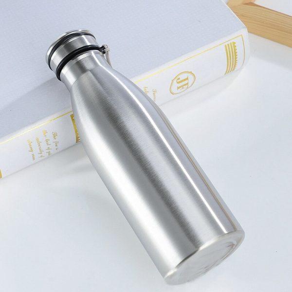 Botellas de agua deportivas de 650ml/ 1000ml, aislamiento de una sola capa de acero inoxidable, perfecto para acampar y hacer senderismo y ciclismo